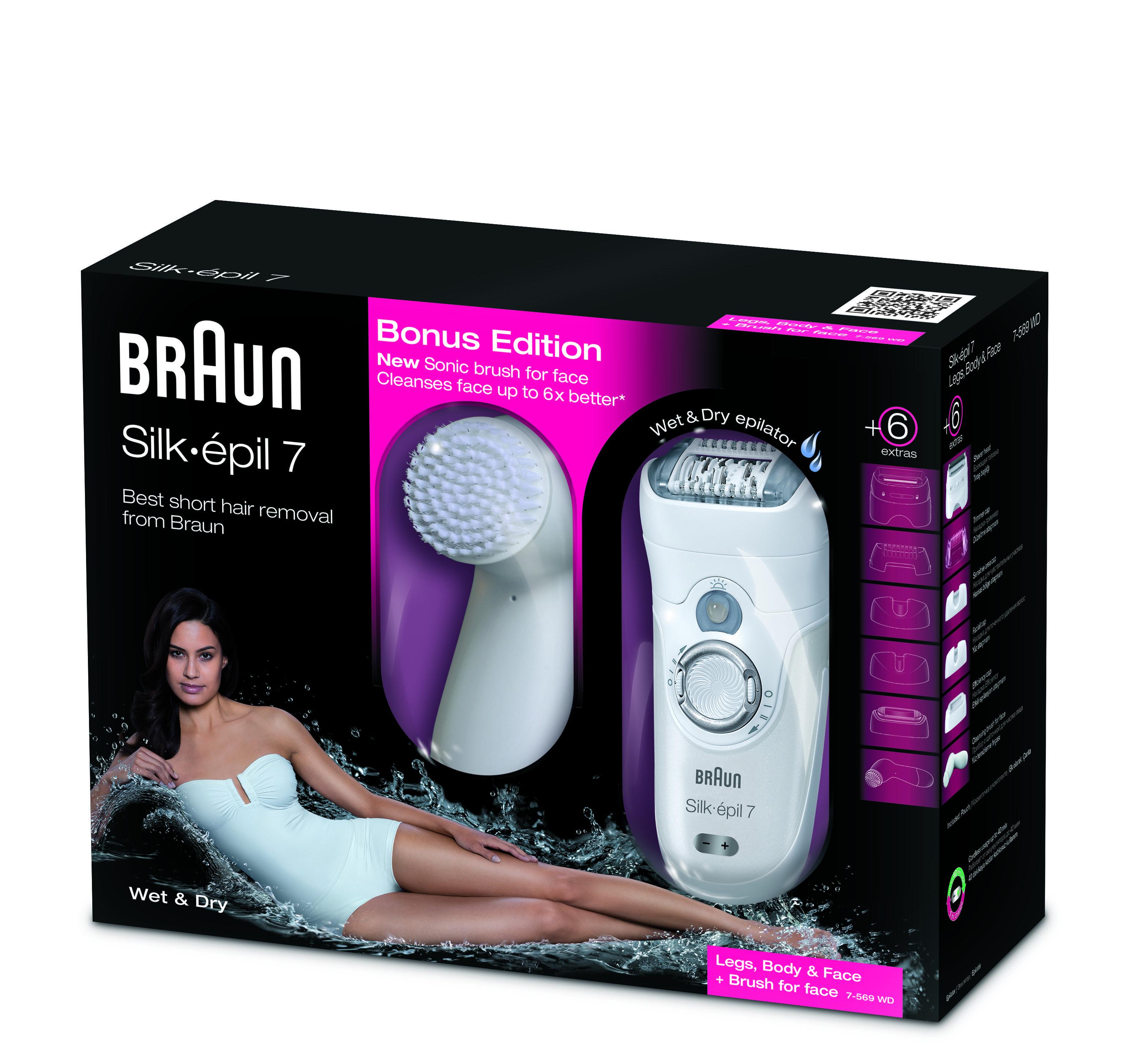 Moederdag cadeautip; Set van Braun Silk-épil met gezichtsborstel